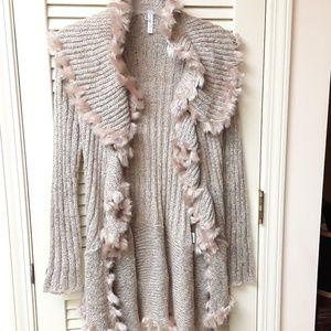 Lapis Boho Sweater Cardigan Top Beige Pink Fur PM